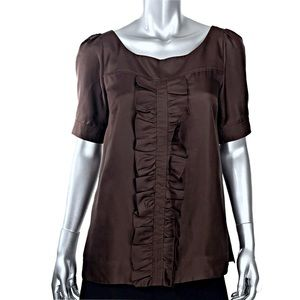 Lilly Pulitzer Brown Silk Ruffled Blouse Size 8